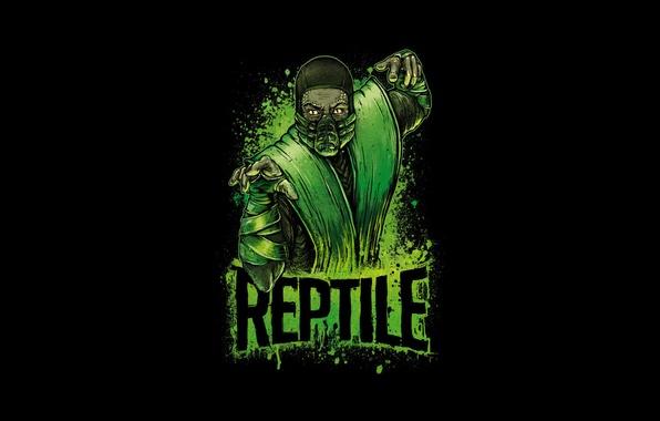 Картинка зеленый, боец, ниндзя, art, Mortal Kombat, Reptile