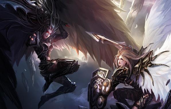 Картинка камни, оружие, девушки, крылья, меч, перья, арт, битва, щит, красные глаза, chenbo