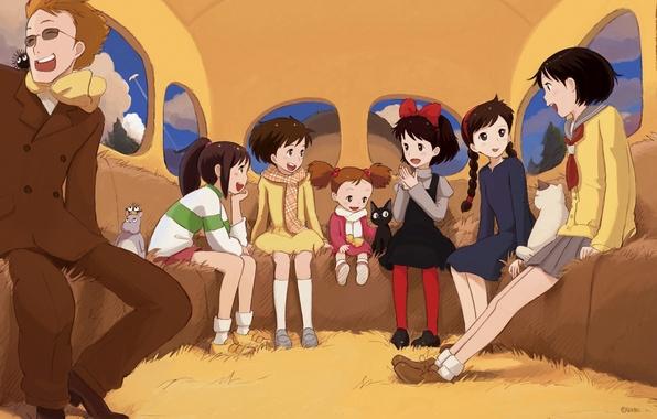 Картинка кот, девочки, аниме, арт, ведьма, мой сосед тоторо, spirited away, унесенные призраками, tonari no totoro, …