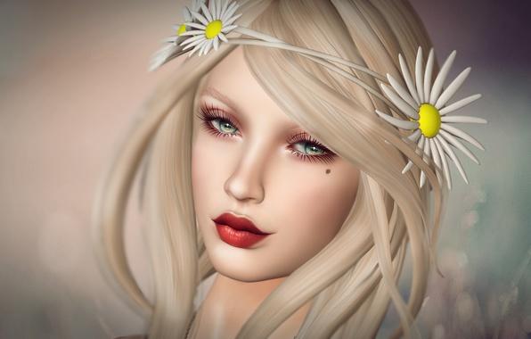 Картинка глаза, взгляд, девушка, цветы, лицо, фон, волосы, губы