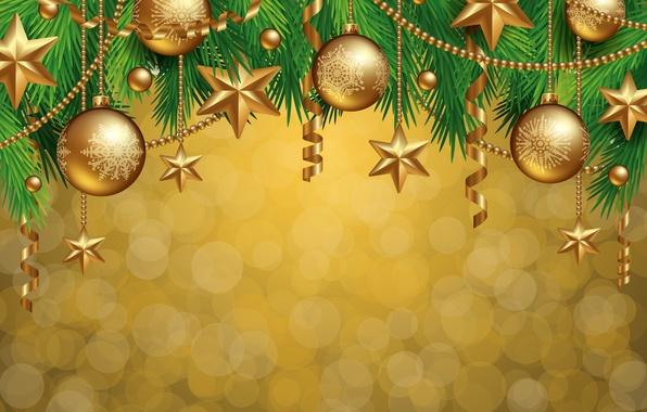 Картинка украшения, шары, елка, Новый Год, Рождество, golden, Christmas, balls, decoration, Merry