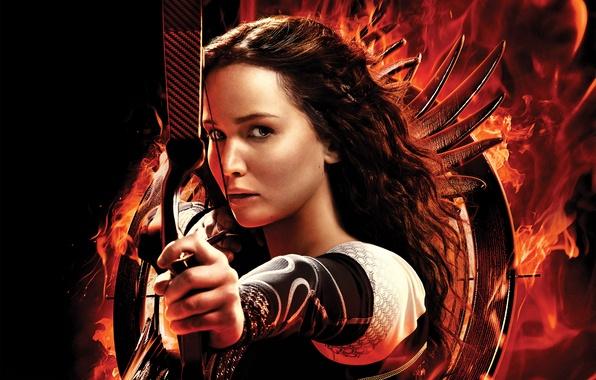Картинка girl, Action, rock, Fantasy, black, woman, beautiful, glamour, films, movie, film, Jennifer Lawrence, Weapons, Arrow, …