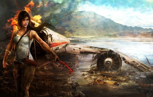 Картинка авария, девушка, горы, самолет, пожар, остров, Tomb Raider, Расхитительница гробниц