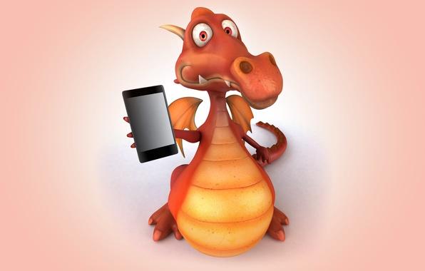 Картинка дракон, dragon, funny, phone