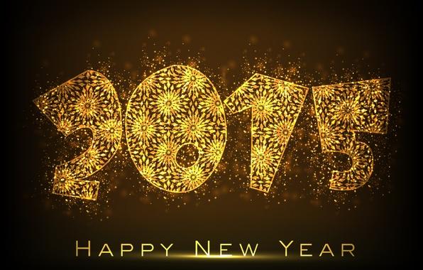 Картинка golden, New Year, Happy, С Новым Годом, 2015