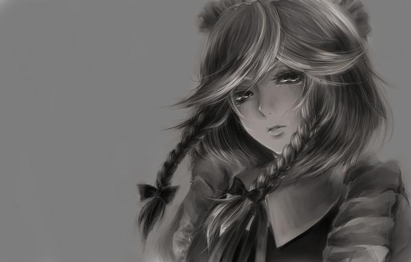 Картинка взгляд, лицо, фон, обои, аниме, ч/б, девочка, картинка, косы