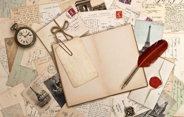 Картинка ретро, перо, часы, ключ, книга, фотографии, vintage, винтаж, письма, марки