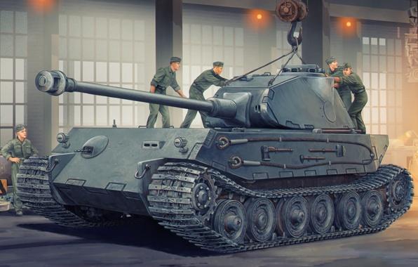 Картинка war, art, german, tank, ww2, VK4502(P), project