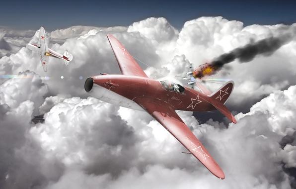 Картинка небо, облака, самолет, война, истребитель, реактивный, war thunder, Як-15