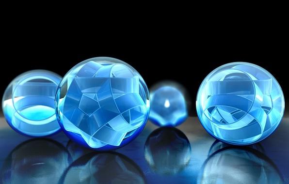 Картинка отражение, ленты, голубой, шары, объем