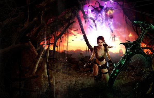 Картинка девушка, меч, lara croft, tomb raider, legend, Tomb Raider: Legend, excalibur