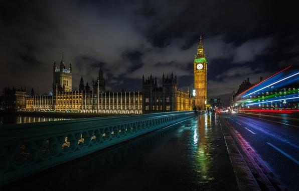 Картинка дорога, машины, ночь, мост, город, река, люди, Англия, Лондон, ограда, выдержка, Великобритания, Темза, Биг-Бен, Вестминстерский …