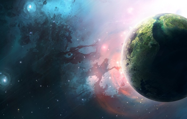 Картинка Звезды, Планета, Planets, Stars, Space, Earth, Blue, Туманности