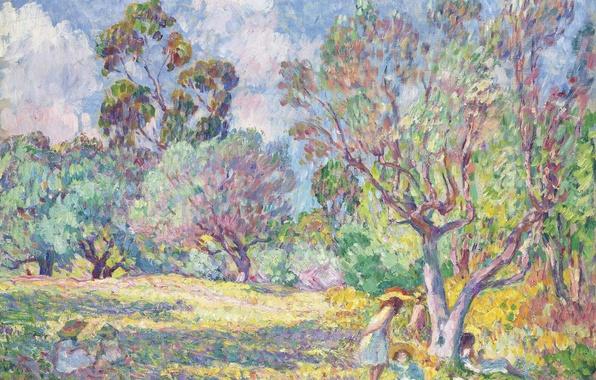 Картинка деревья, краски, картина, жанровая, Анри Лебаск, Дети на поляне
