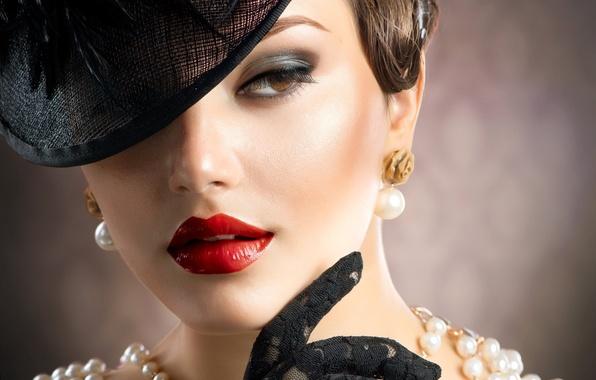 Картинка взгляд, девушка, ресницы, стиль, ретро, макияж, помада, перчатки, бусы, шляпка