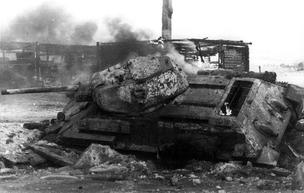 Картинка пожар, война, танк, Т-34