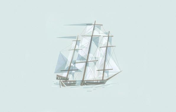 Картинка линии, рисунок, корабль, минимализм, иллюстрация, кубизм