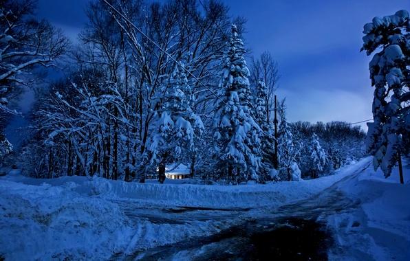 Картинка зима, небо, снег, пейзаж, природа, дом, house, white, sky, landscape, nature, beautiful, winter, snow, scenery, ...