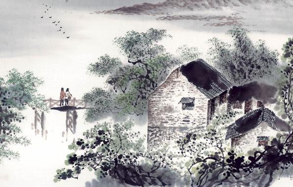 Картинка пейзаж, арт, домик, двое, мостик