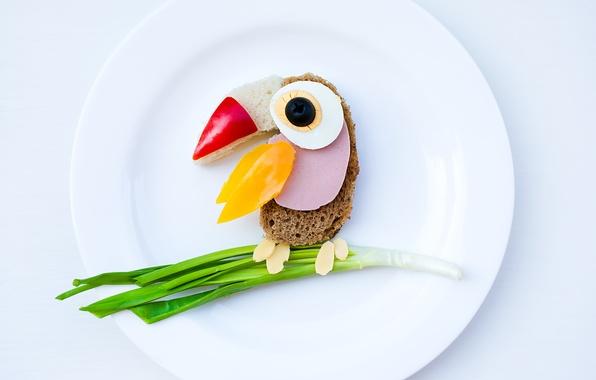 Картинка креатив, яйцо, еда, завтрак, сыр, тарелка, хлеб, перец, зелёный лук