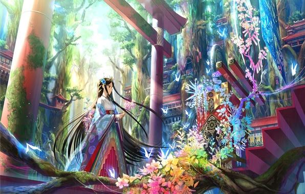 Картинка деревья, цветы, арт, девочка, ступеньки, врата, лиана, национальная одежда, fuji choko