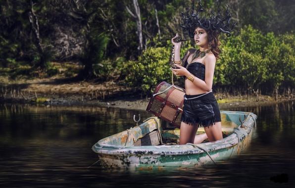 Картинка вода, девушка, стиль, модель, лодка, змея, ситуация, азиатка, сундук, Медуза Горгона