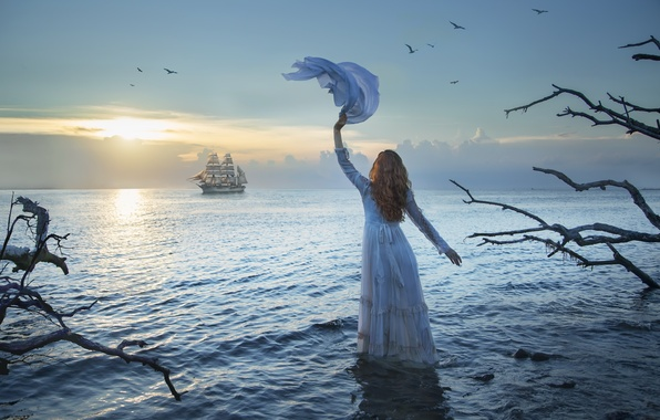 Картинка море, девушка, закат, корабль