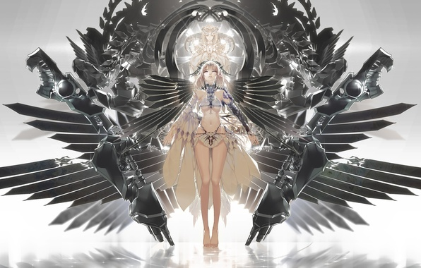 Картинка девушка, крылья, аниме, арт, рога, ajahweea