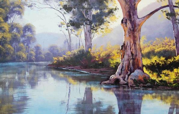Картинка небо, деревья, пейзаж, горы, природа, река, картина