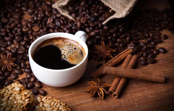 Картинка кофе, корица, семечки, гвоздика