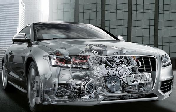Картинка car, машина, авто, Audi, двигатель