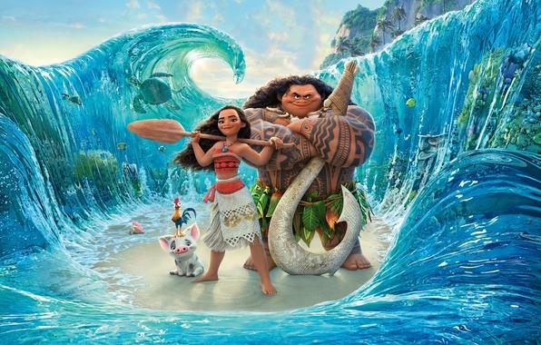 Картинка море, волны, мультфильм, девочка, персонажи, весло, Walt Disney Pictures, абориген, Moana, Моана