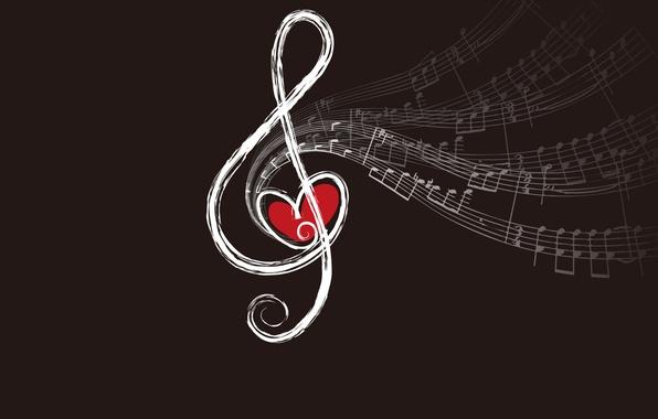 Картинка ноты, сердце, ключ, скрипичный, звуки