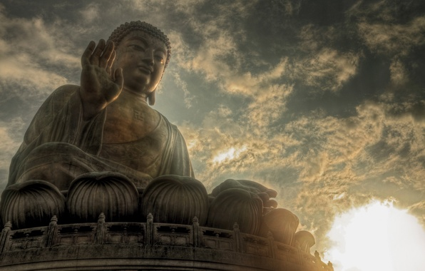 Картинка небо, солнце, облака, статуя, Будда