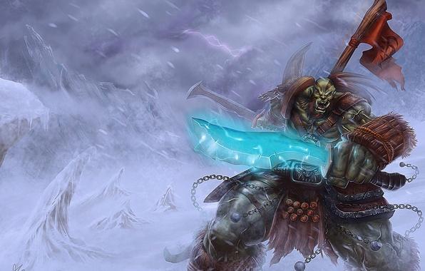 Картинка снег, меч, орк, wow, world of warcraft, знамя, orcs