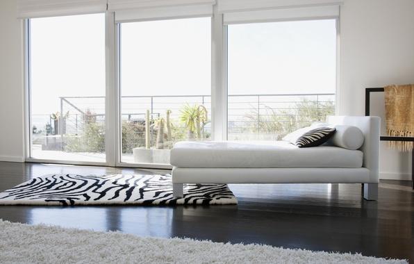 Картинка белый, дизайн, ковер, цвет, кровать, интерьер, окно, зебра, подушка