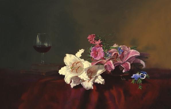 Картинка цветы, стол, вино, лилии, бокал, книги, картина, натюрморт, Алексей Антонов, скатерть