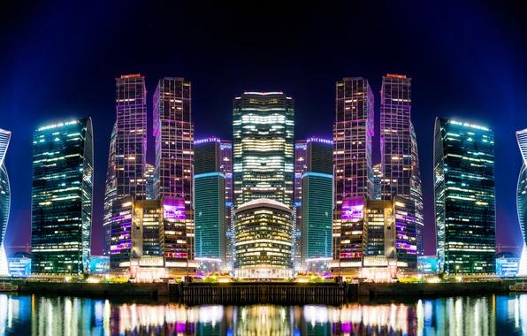 Картинка ночь, огни, река, дома, небоскребы, Москва, Россия, столица