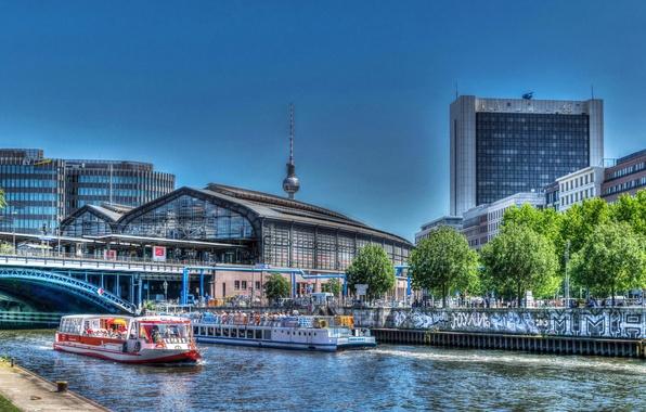 Картинка мост, город, река, HDR, дома, Германия, катера, Берлин