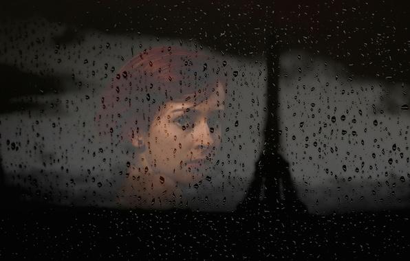 Картинка стекло, девушка, капли, силуэт, окно