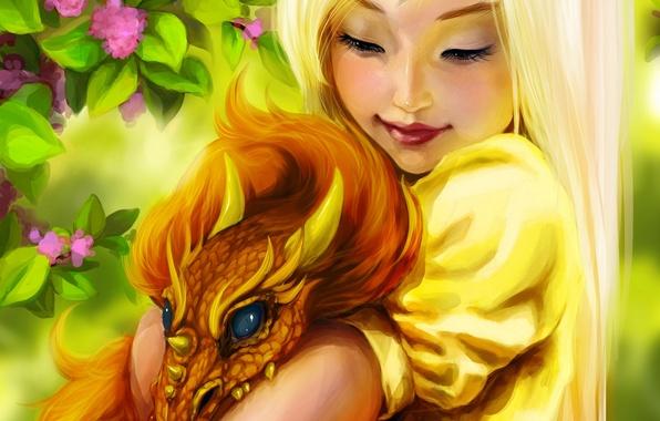 Картинка цветы, улыбка, дракон, фэнтези, девочка, girl, fantasy, Fantasy, smile, art, flowers, dragon, Ink-pot