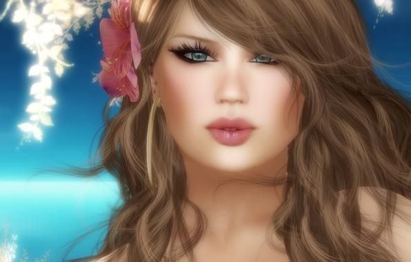 Картинка цветок, девушка, рендеринг, портрет, визуализация, арт, 3d., волосах, Portraits