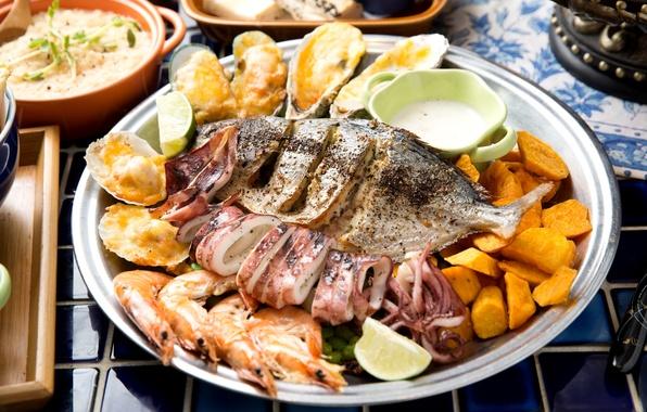 Картинка рыба, креветки, мидии, кальмары, батат