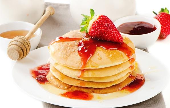 Картинка еда, клубника, ягода, мед, мёд, красная, блины, джем, блинчики, оладьи
