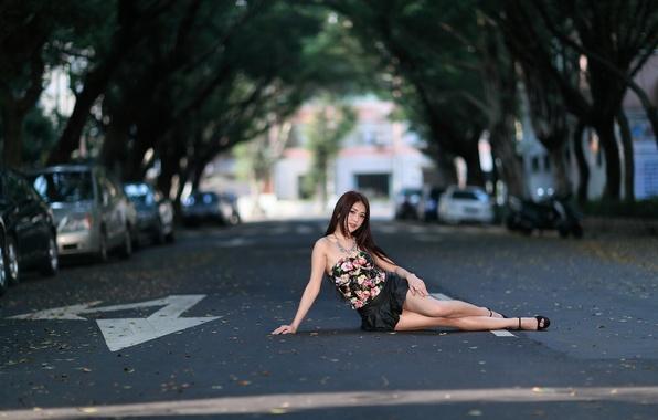Картинка взгляд, девушка, поза, улица, азиатка