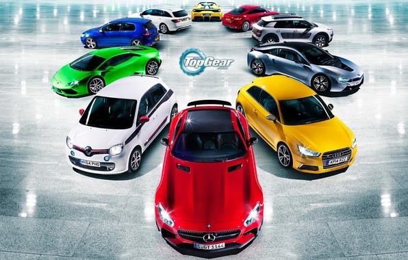 Картинка Audi, Mercedes-Benz, Lamborghini, BMW, Volkswagen, Renault, Top Gear, Ferrari, Citroen, Red, Blue, Green, White, Yellow, …