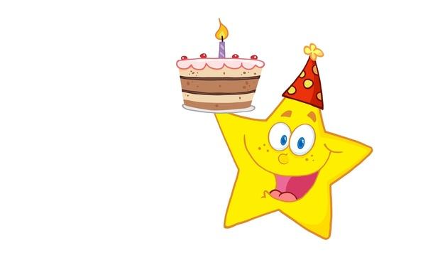 Картинка улыбка, фон, настроение, праздник, вектор, арт, свечка, звёздочка, тортик, детская, День Рождения