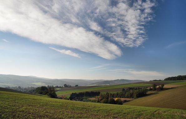 Картинка небо, облака, деревья, холмы, поля, Австрия