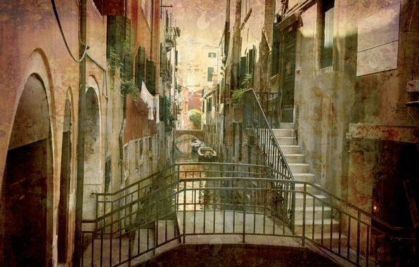 Картинка city, город, Италия, Венеция, канал, vintage, Italy, гондола, Venice