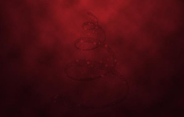 Картинка елка, новый год, красный фон